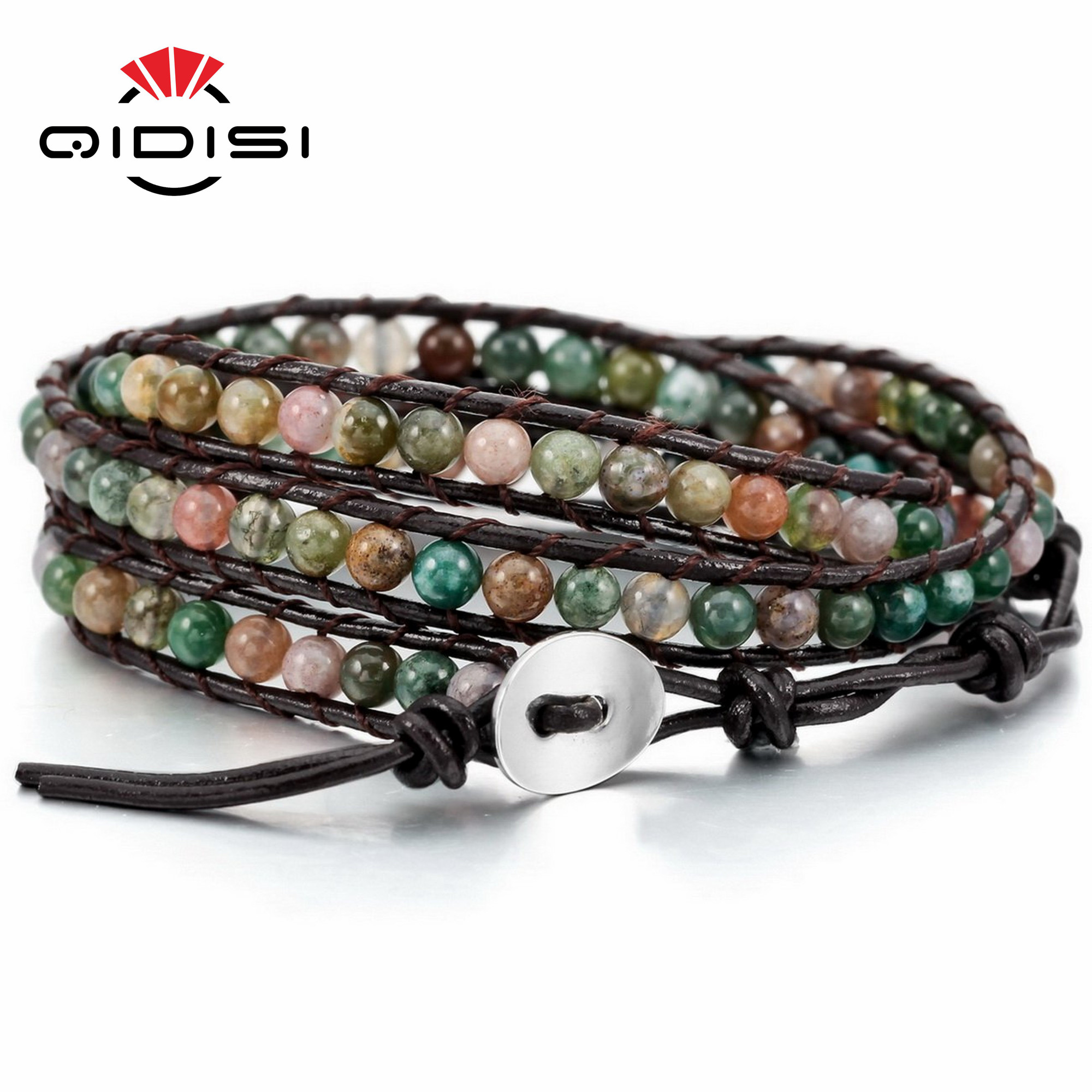 Stone Beads Alloy Genuine Leather Bracelet Men Women Bangle Cuff Rope Bead 3 Wrap Adjustable glitter stone open cuff bangle