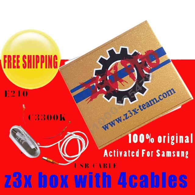 Z3X Box activated  for samsung and pro with 4 Cable c3300k/type c/USB/E210 for new update S6 s5  Note4 free shipping