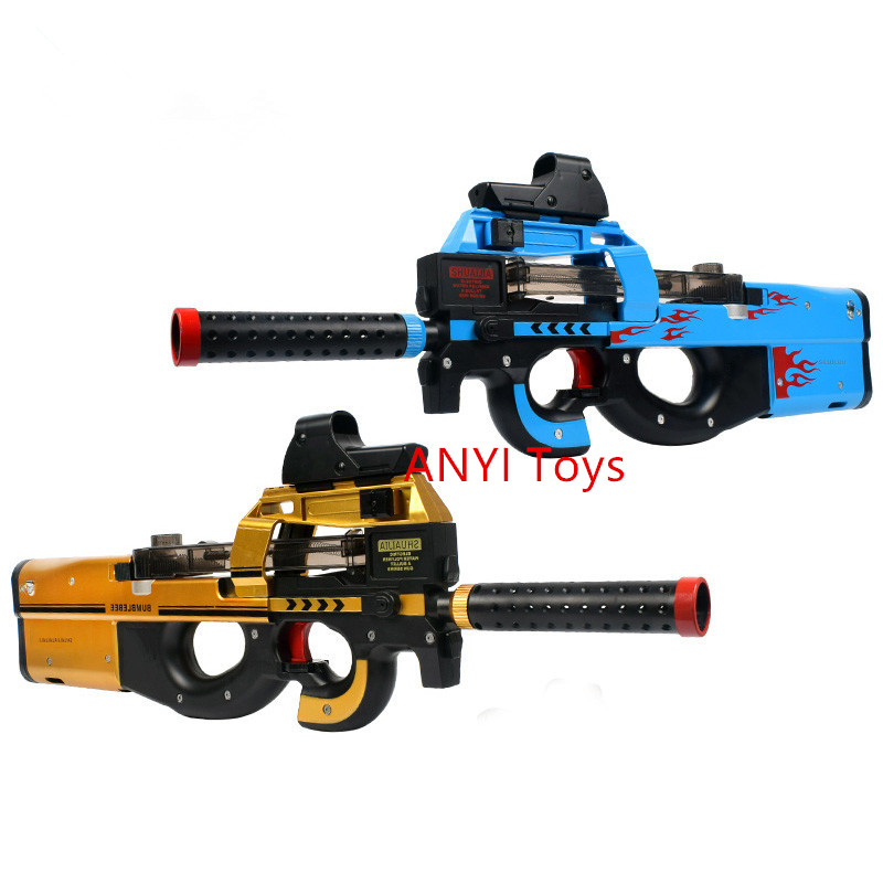 Latest styles P90 Electric Auto Toy Gun Live CS Assault Snipe Weapon Water Bullet Bursts Gun Funny Outdoor Pistol Toys