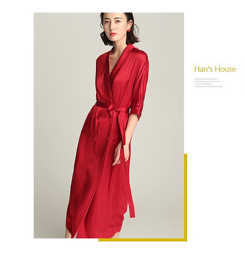 High-end Dress Women 100% Silk Elegant Style Shawl Neck Drop-Shoulder Half Sleeves Sashes Double-breasted Button Fashion 18 8