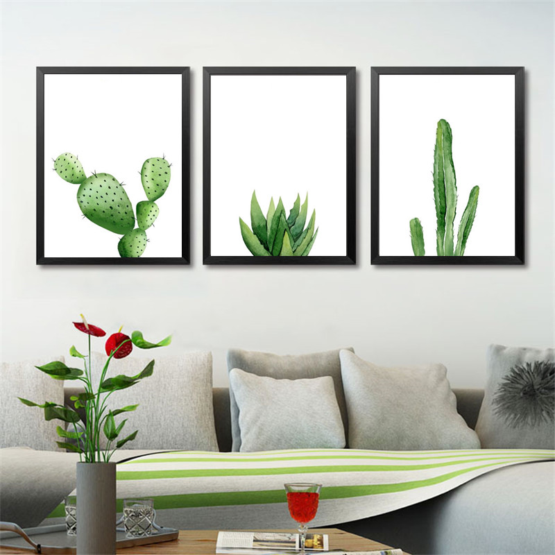 buy green plants canvas art print poster cactus set wall pictures for home. Black Bedroom Furniture Sets. Home Design Ideas