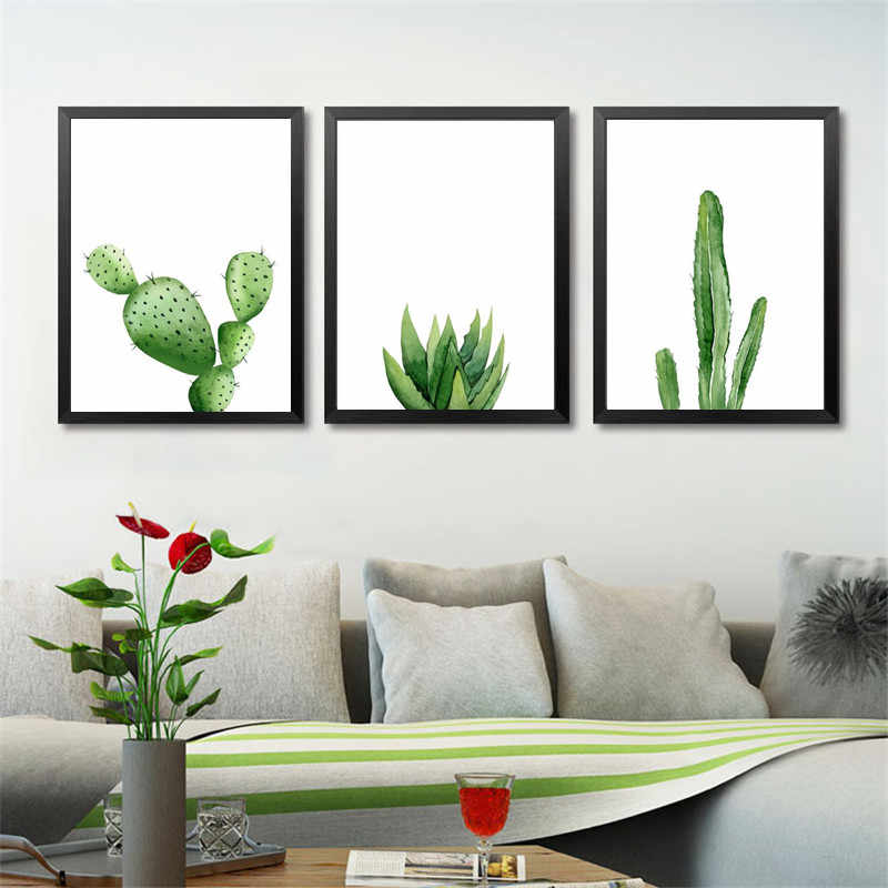 Green Plants Canvas Art Print Poster, Cactus Set Wall Pictures for Home Decoration, Giclee Wall Decor HD2467
