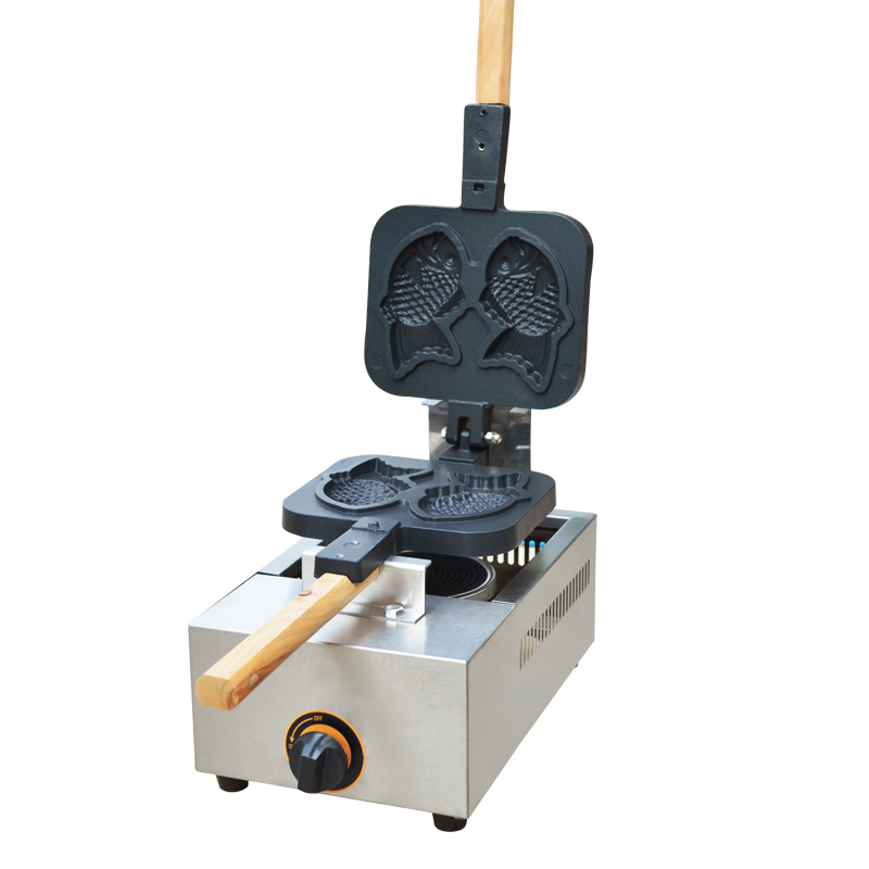 220V Non-stick Gas 2Pcs Fish Waffle Machine Taiyaki Fish Waffle Iron Baker Stainless Steel Bread Baker 2pcs non stick commercial use lpg gas taiyaki fish waffle iron maker machine baker