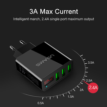 USAMS 3 Port USB Phone Charger LED Display EU/US Plug The Max 2.4A Smart Fast Charging Mobile Wall Charger for iPhone iPad
