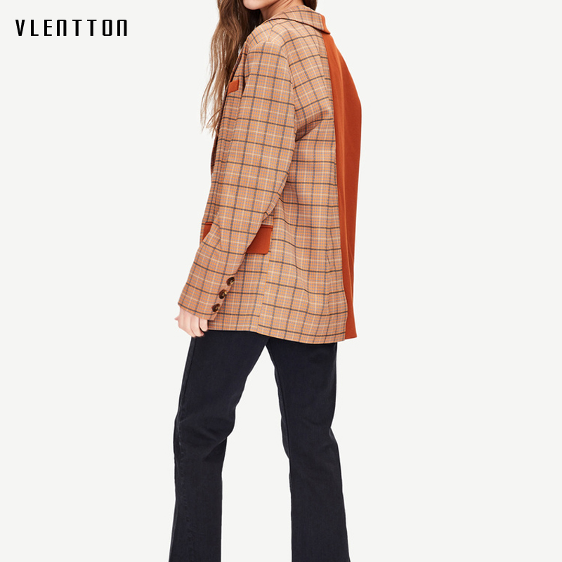 2019 New Vintage Female Jacket Blazer Single Breasted Plaid Patchwork Long Sleeve Blazer Coat Spring Autumn Office Women Blazer