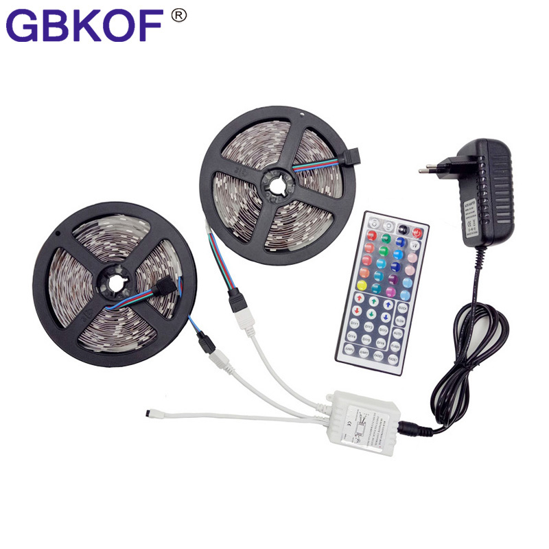 10M RGB LED Strip 5M 5050 LED Light Tape Flexible Ribbon IP65 Waterproof with IR Remote Controller DC 12V Power Adapter Full set dc12v 5050 led strip waterproof rgb rgbw led light flexible tape touch remote controller 12v power adapter kit 30m 20m 10m 5m