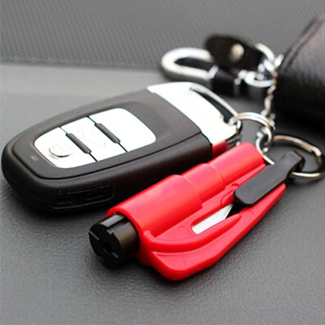 Car Safety Hammer Key Ring Chain Knife Life Saving Seat Belt Cutter Break Window Glass Auto Emergency Escape Broken Rescue Tool