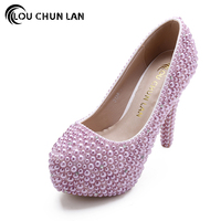 Colorful Rhinestone Ultra High Heels Wedding Shoes Round Toe Shallow Mouth Thin Heels Formal Dress Shoes