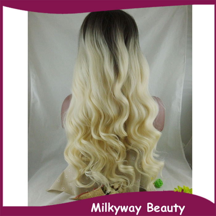 Free Shipping new heat resistant fiber black to milky blond two tone ombre wavy synthetic lace