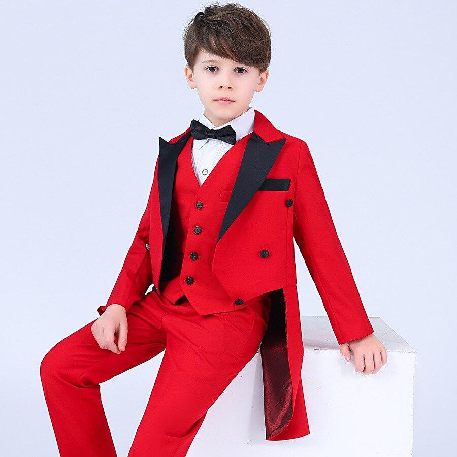 Children 4pcs Formal Dress Tuxedo Suits Sets Boys Wedding Prom Performance Costume Kids Blazer Vest Shirts Pants Bowtie Outfits