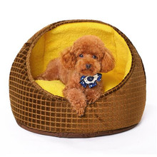 Pets Product Yellow Square Round Dog House Bed Soft Comfortable Dog House High Quality PP Cotton Fill Warm Breathable Dog Kennel