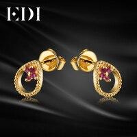 EDI из натуральной ruby Серьги гвоздики для Для женщин soild 14 К 585 Желтое золото модные Серьги Ювелирные украшения леди подарки
