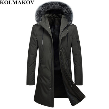 KOLMAKOV Men's Clothing 2018 New Mens 90% White Duck Down Jackets with Fur Hat Winter M-3XL Thick Long Down Hooded Coats Homme