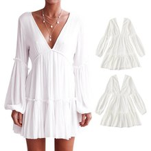 new  White Summer Bohemian Mini Dress Women Fashion Spring Solid Lace Casual Clothes V-neck Long Sleeve Dresses
