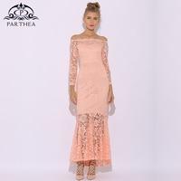Parthea Lace Maxi Dress Long Sleeve Plus Size Long Dress Sexy Pink Summer Dress Women Elegant Party Dresses Vestido Longo 2018