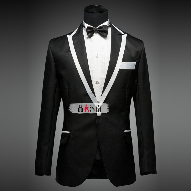 Mens Black And White Suit Dress Yy
