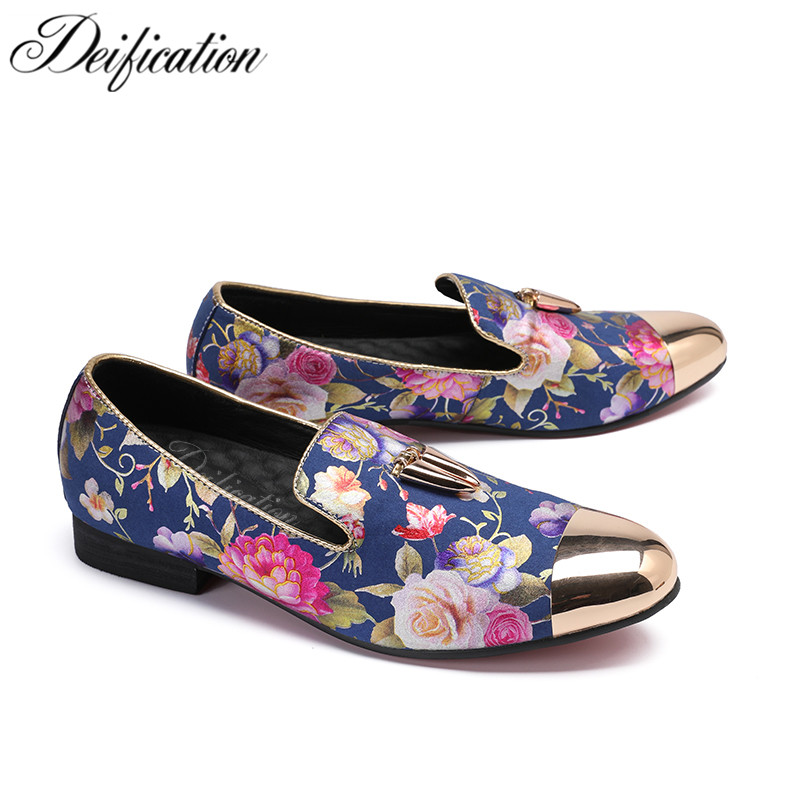 Deification Luxury Flowers Printed Men Casual Leather Shoes Italian Design Oxfords For Slip On Party Prom 46