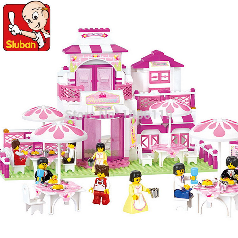 B0150 SLUBAN Girl Friends Romantic Restaurant Model Building Blocks Enlighten DIY Figure Toys For Children Compatible Legoe b1600 sluban city police swat patrol car model building blocks classic enlighten diy figure toys for children compatible legoe