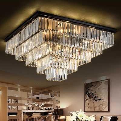Современные квадратная хрустальная люстра светлое ясное кристаллическая Подвеска лампы хорошо K9 Хрустальная капля Lamparas для гостиной отеля