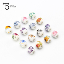 10mm Oval Lotus Ceramic Beads for DIY Bracelet Necklace Material Beaded toy Creative Charm Floral Decal Wholesale T300