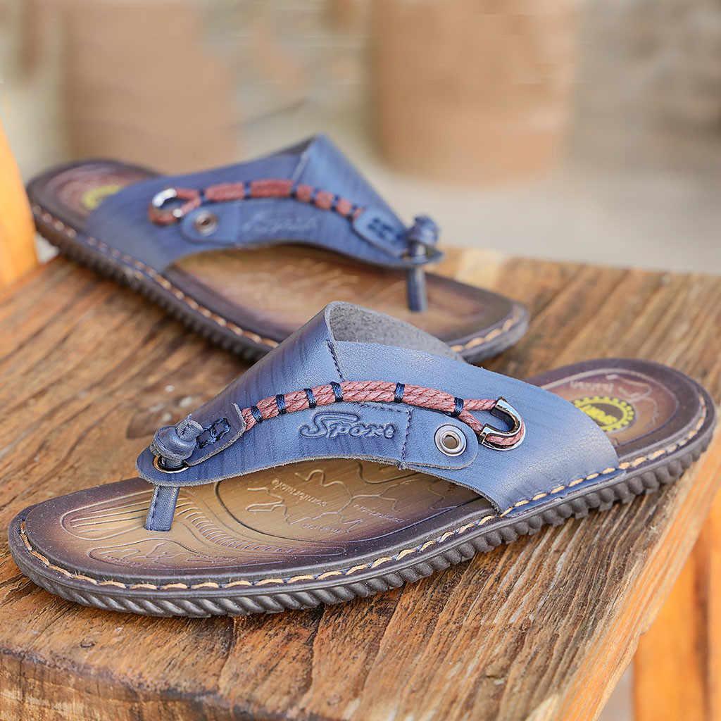 Heißer Verkauf Sandalen Männer Schuhe Sommer Hausschuhe Männer PU Leder Sandalen Schwarz Strand Hausschuhe Alias Hombre Sandale Homme Jan15