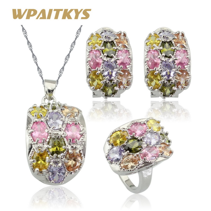 Luxury Multi Color Gems Natural Topaz Jewelry Set Silver Earring Necklace Pendant Ring For Women Free