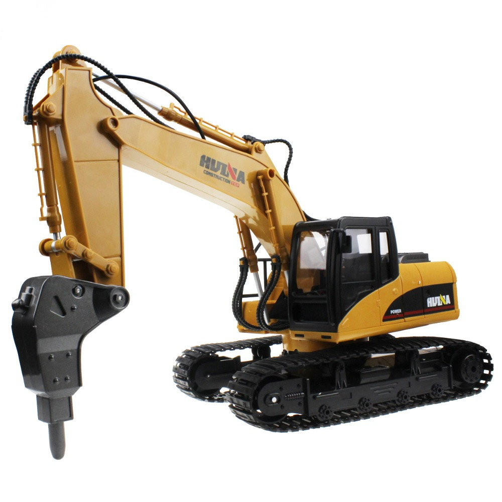 High quality RC Alloy Hammer Excavator 16 Channel 2.4G Rechargeable Sound and Light Demo Remote Control Drilling Truck toy gift remote control 1 32 detachable rc trailer truck toy with light and sounds car