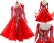 Ballroom Waltz Competition Dance Dress Women Red Color Skirt High Quality Standard Dresses
