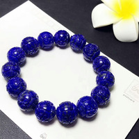 14mm Certificate Natural Lapis Lazuli Royal Blue Gemstone Bracelets Crystal Stretch Craved Round Beads AAAAA
