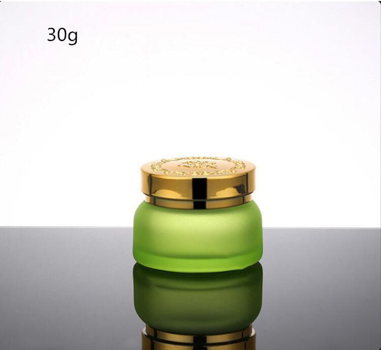 Skin Toner Suit Empty Bottle Silver Gold Carved lid Green Emulsion Bottle Glass Cream Lotion Pump 30ml 50ml 120ml 30g 50g (12)