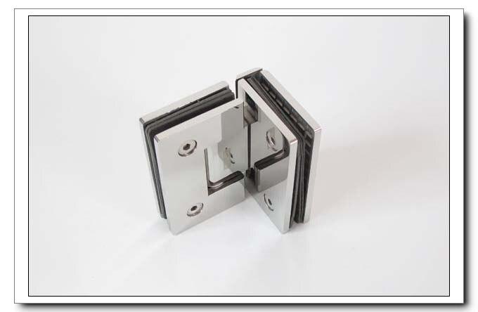 Frete grátis, 304 dobradiça do chuveiro de aço inoxidável, braçadeira de vidro de 90 graus, braçadeira de chuveiro, espelho terminado, fácil instalação, durável