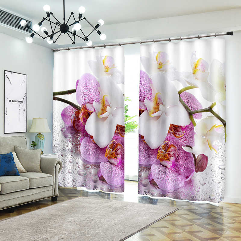 Creative Flowers Photo For Bedding Room Living Room or Hotel Drapes Cortians Sunshade 3D Window Curtains