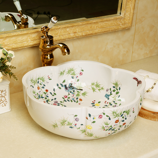 Europe Artistic Painting Flowers Porcelain Wash Basin Art Countertop  Washnasin Ceramic Bathroom Vessel Sinks Porcelain Bowl