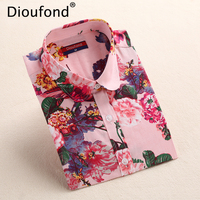 Dioufond 5XL Floral Blouse Summer Shirt Women Fruit Long Sleeve Tops Cotton Shirts Pink White Blouses Blusas Femininas 2016 New