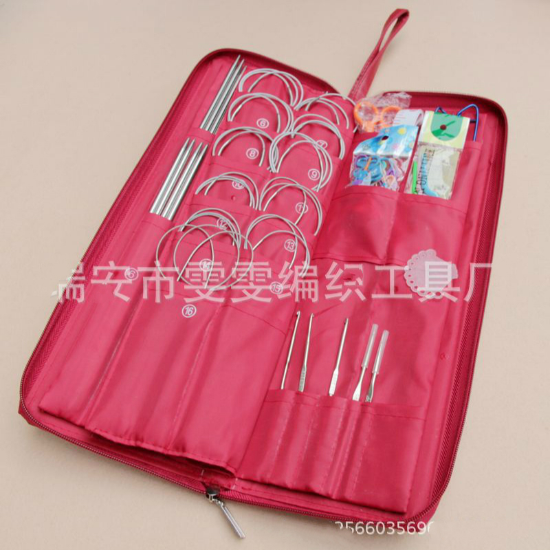Different sizes of 158pcs stainless steel straight circular knitting needle hook woven bag