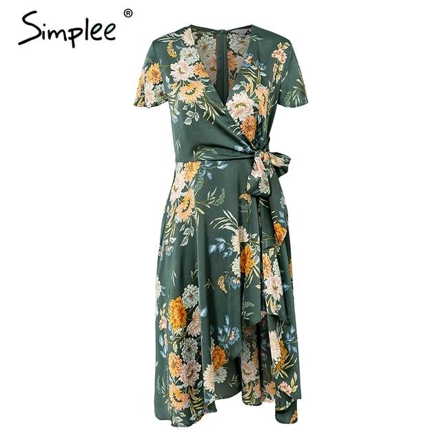 Floral Print Satin Women Dress Wrap V Neck High Waist Summer Dresses Bow Tie Green Casual Vestidos