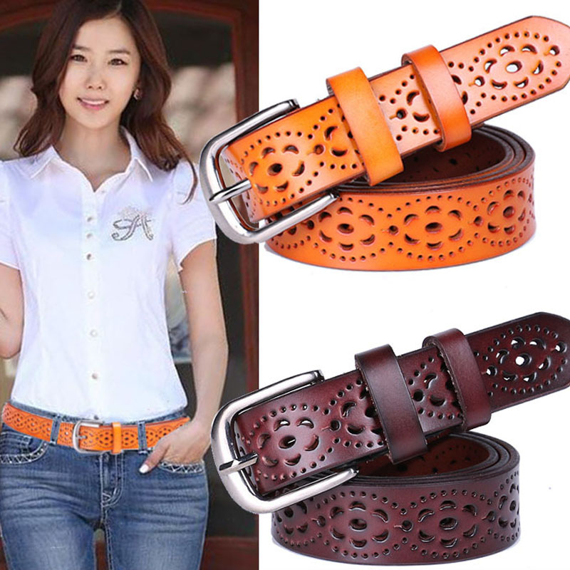 Wide Genuine Leather Belt Women Without Drilling Luxury Jeans Belts Female Top Quality Straps Hollow Ceinture Femme New Fashion