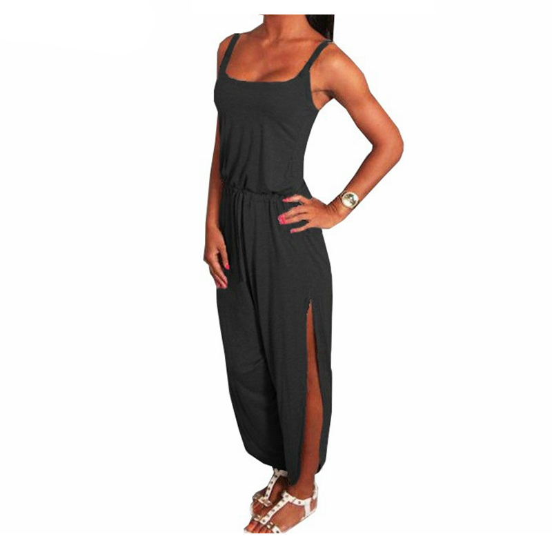 BFYL Summer Rompers Womens Jumpsuit Sexy Spaghetti Strap Sleeveless Split Overalls Long Playsuit S-5XL