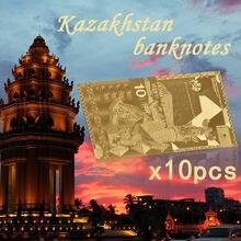 Réplica de billete de oro de Kazakhstan, 10 Uds. 10000 papel de dinero falso para cumpleaños, regalo de recuerdo de Kazakhstan, envío directo