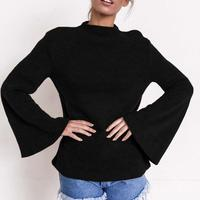 Autumn Pullover Women Turtleneck Long Sleeve Sweater Flare Sleeve Solid Jumper Femme Winter Tops WS2816X