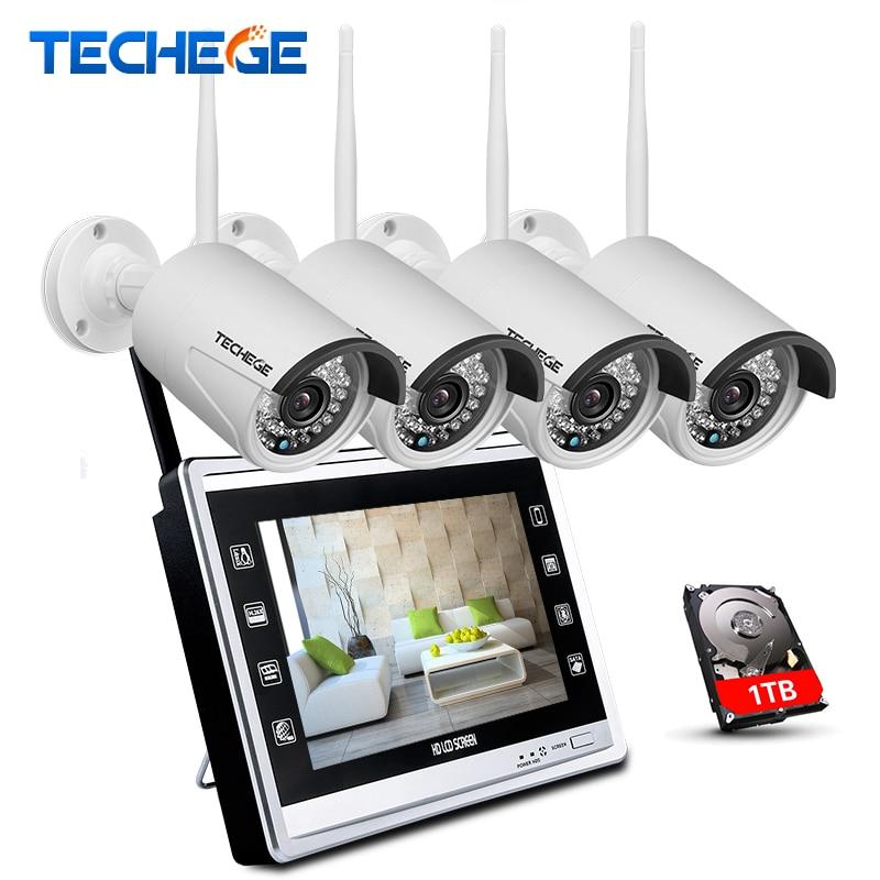 цена Techege 4CH Wireless 960P NVR Kit HD 960P Wireless 12