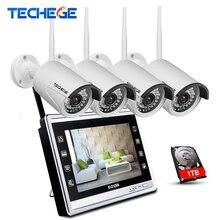 Techege 4CH Wireless 960P NVR Kit HD 960P Wireless 12″ LCD Monitor 4CH wifi NVR Security 1.3MP WIFI camera CCTV Camera System