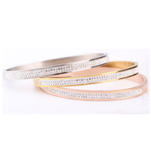 Two Rows crystal rhinestone pave stainless steel love bracel