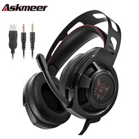 Askmeer Computer Gaming Headphones Casque Best Over Ear Bass Stereo Headset Gamer With Microphone Mic Led