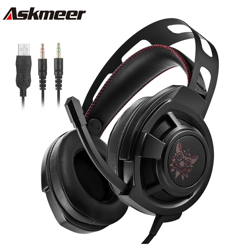 Askmeer Computer Gaming Headphones Casque Best Over Ear Bass Stereo Headset Gamer with Microphone Mic Led Light for PC Game led bass hd gaming headset mic stereo computer gamer over ear headband headphone noise cancelling with microphone for pc game