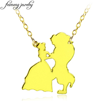 Popular Movie Beauty and the Beast Necklace Charm Golden Belle And Beast Dancing Pendant Necklace For Women Fashion Jewelry