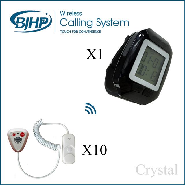 10 botón de llamada 1 del reloj promoción paciente de la clínica enfermera impermeable sala campana de servicio de llamadas de emergencia