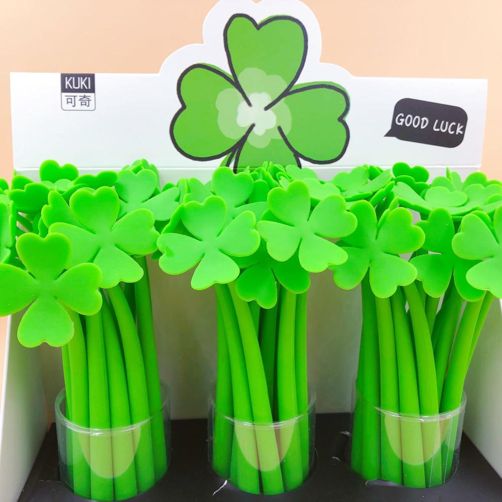48pcs lot Creative lucky grass Silicone Korean Stationery Student Black water ink Signature Gel Pen