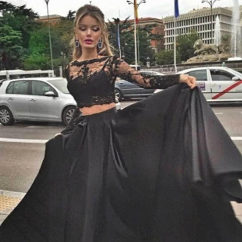 Noir manches longues Illusion robes de bal partie dentelle transparent dos grande taille modeste Occasion spéciale robes tenue de soirée pour les femmes