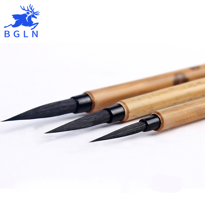 BGLN 3Pcs Pure Purple Hair Hook Line Pen Brush Set Chinese Writing Painting Brushes Calligraphy Pen Artist Drawing Brush pure langhao calligraphy brush all wood lake pen wenfangsibao set
